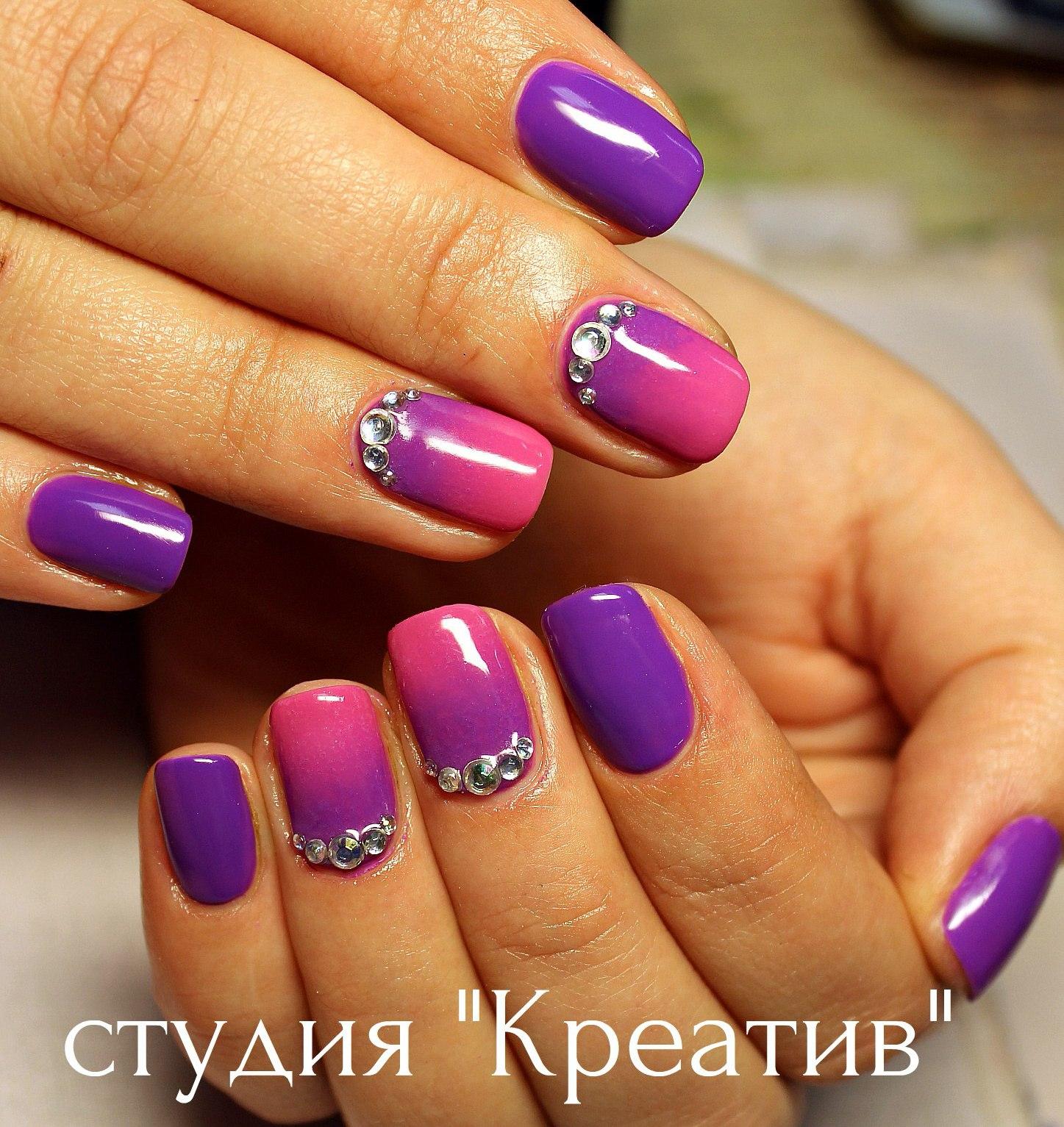 Сиреневые ногти короткие фото