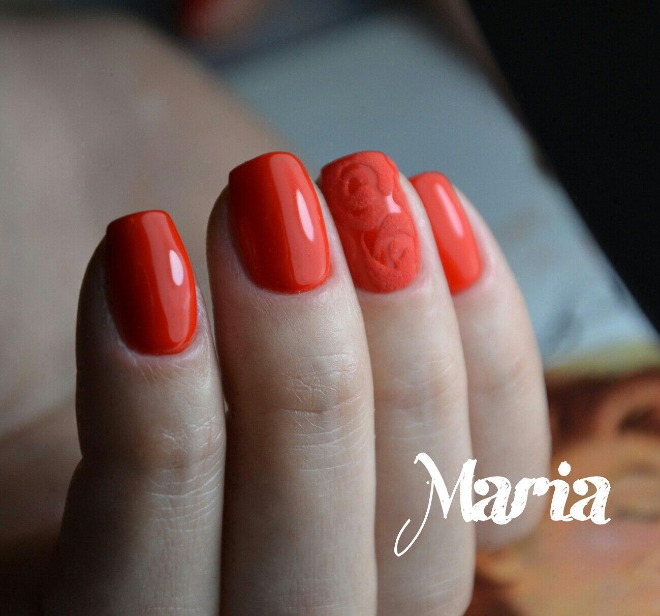 Красные квадратные короткие ногти