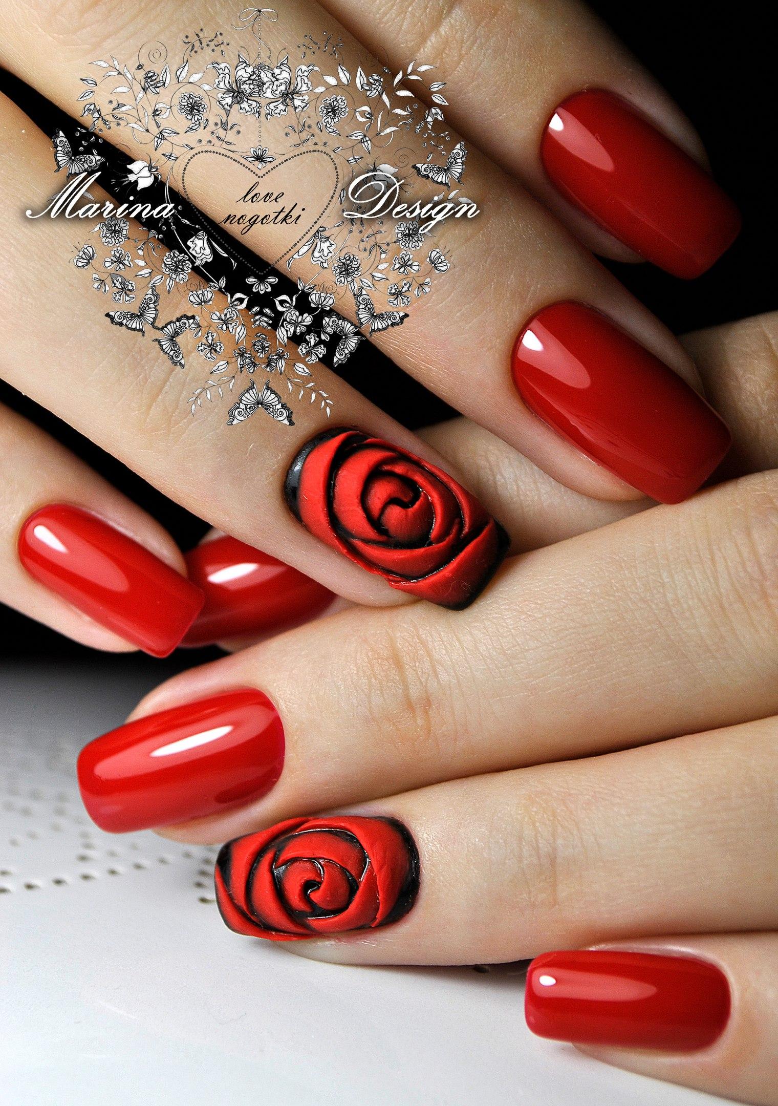 Маникюр на длинные ногти красный