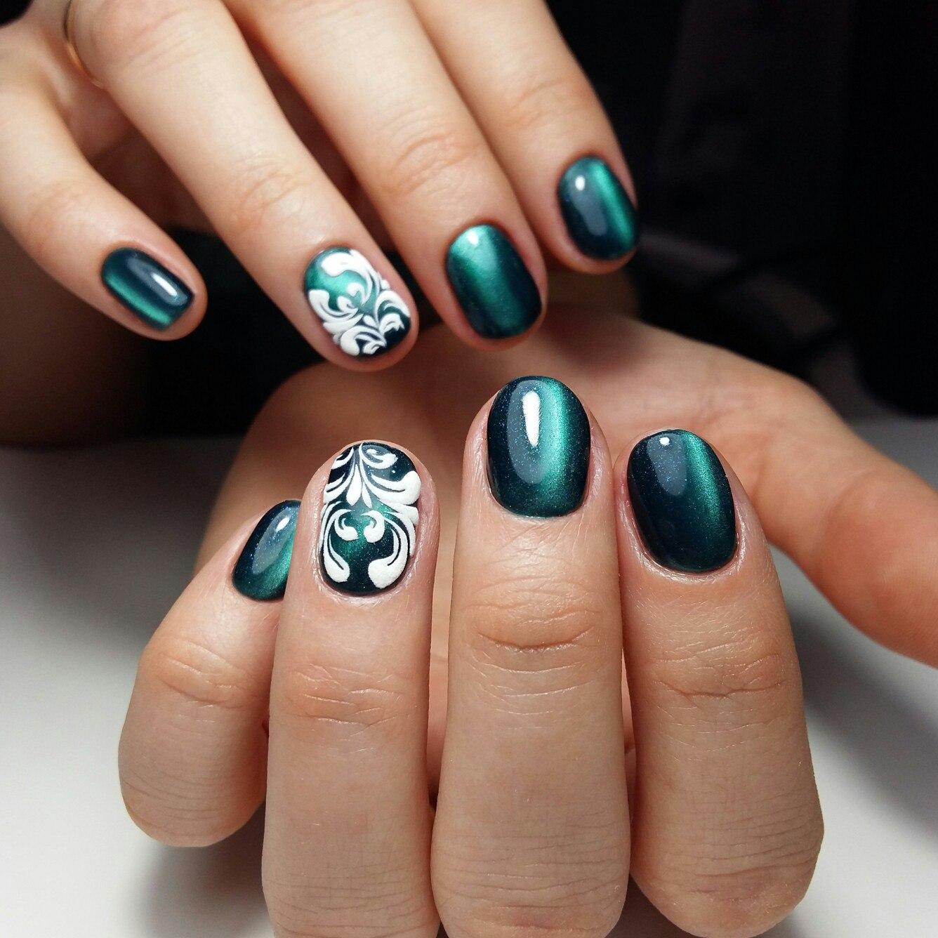 Маникюр под зеленое платье на короткие ногти фото дизайн