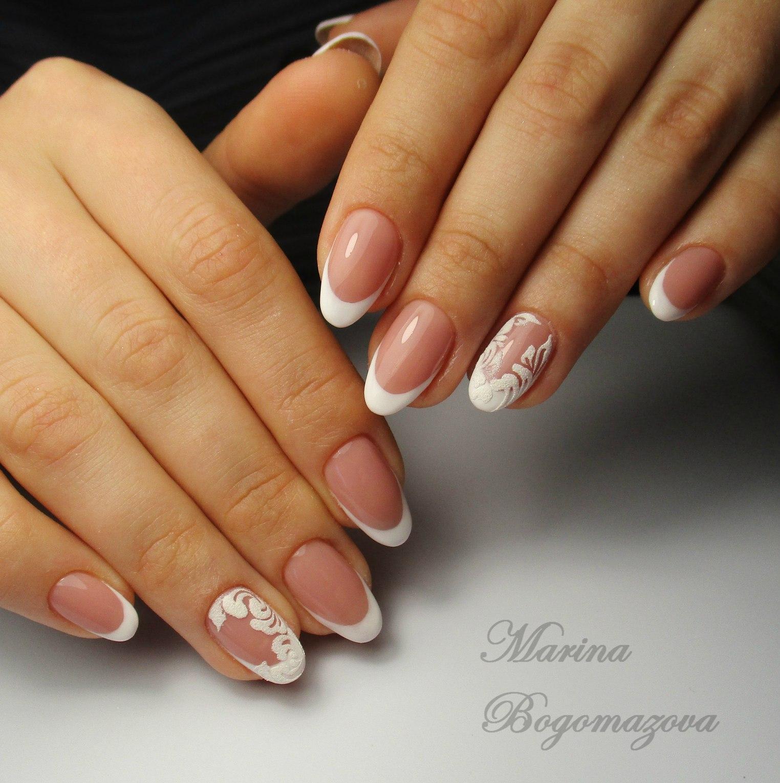 Фото ногтей френч форма миндаля
