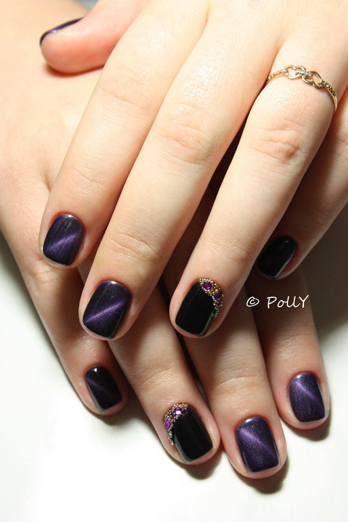 Маникюр темные тона на короткие ногти