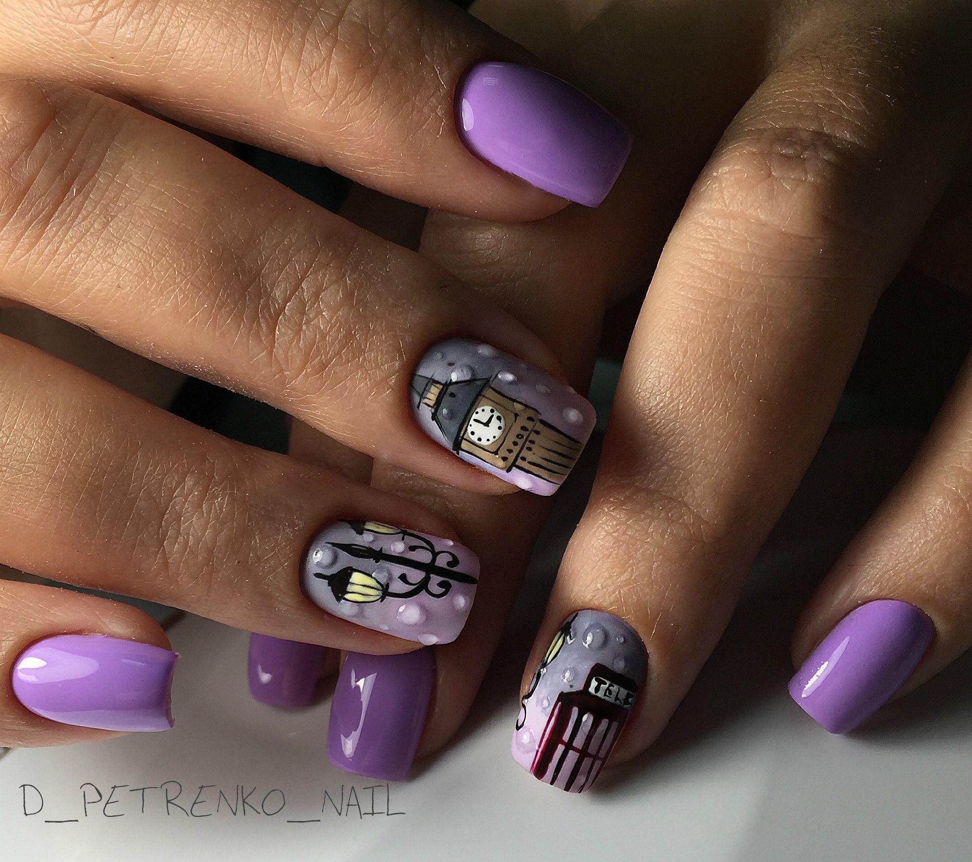 Капли на ногтях маникюр