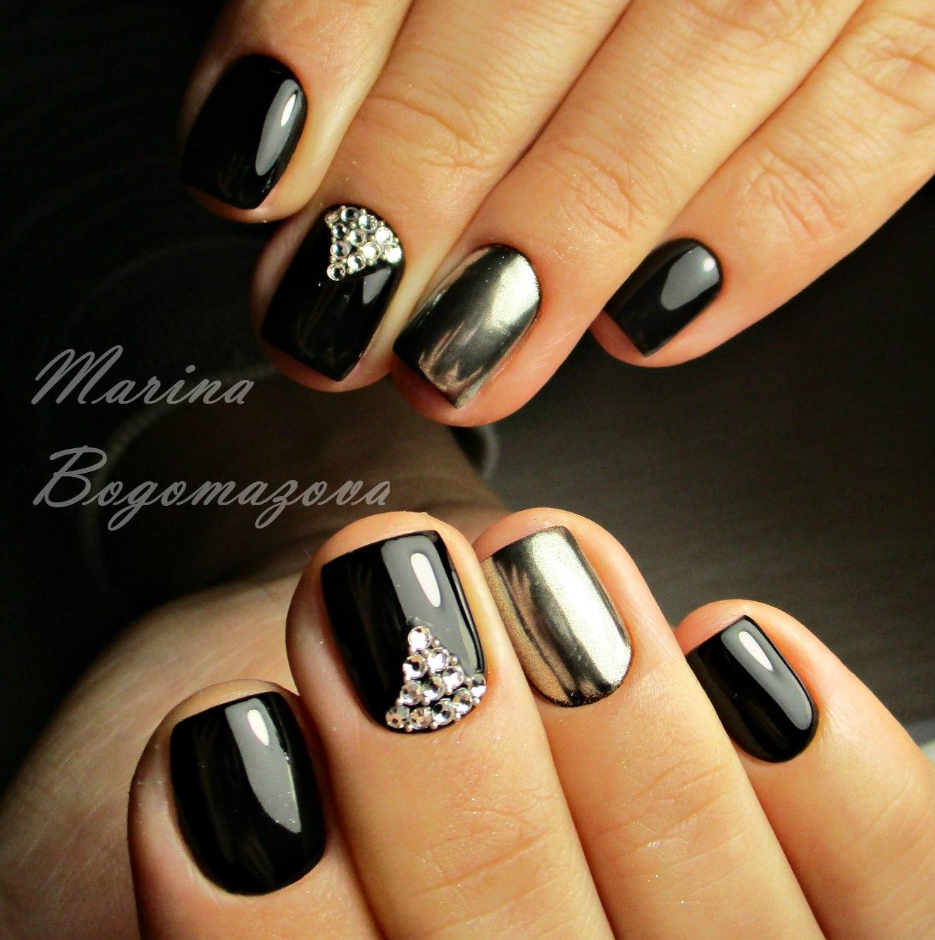 Темный маникюр на короткие ногти дизайн