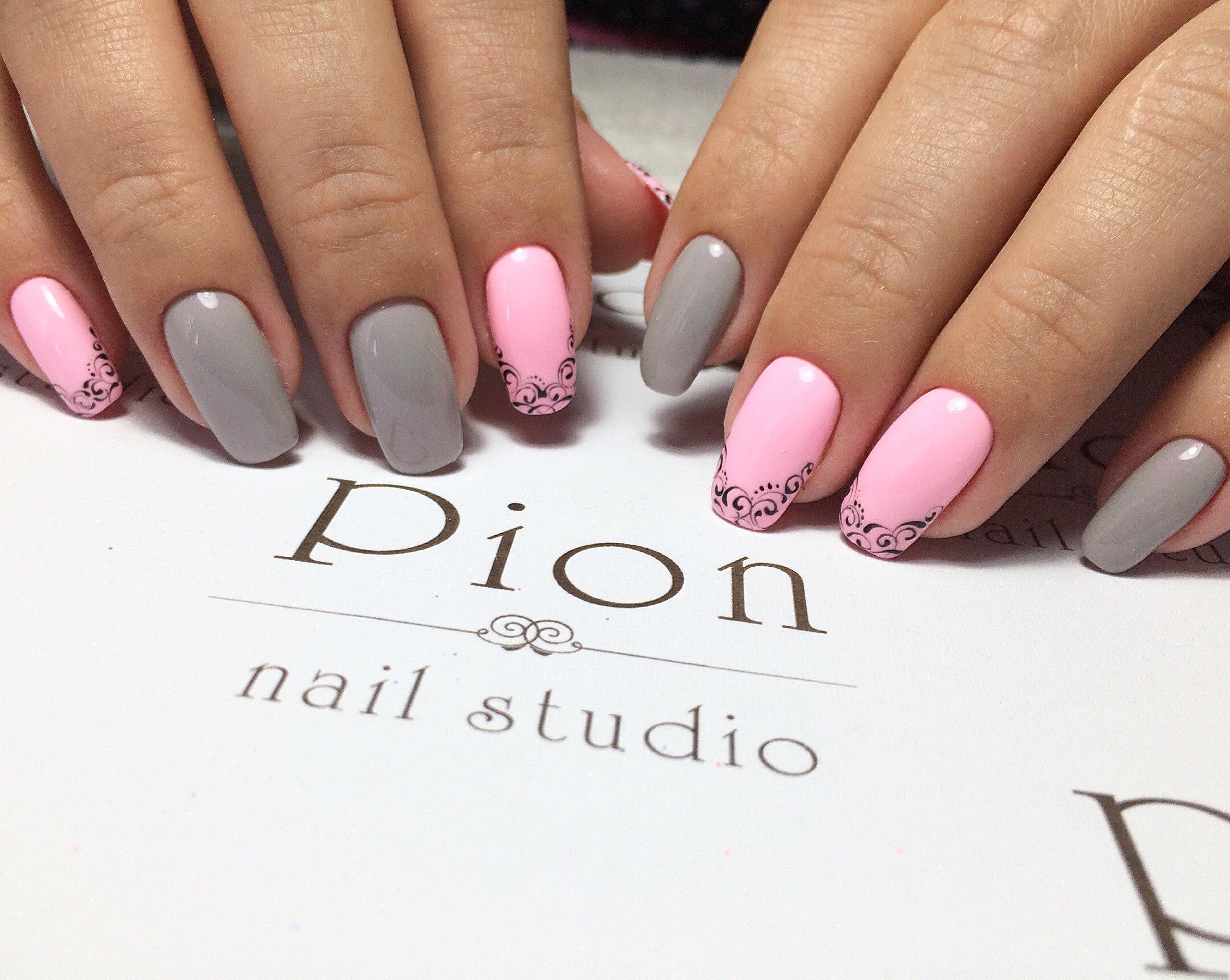 Дизайн ногтей розовый и серый 2018 фото новинки