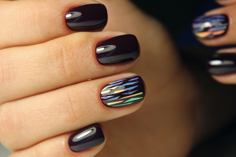 Дизайн ногтей с битым стеклом на короткие ногти