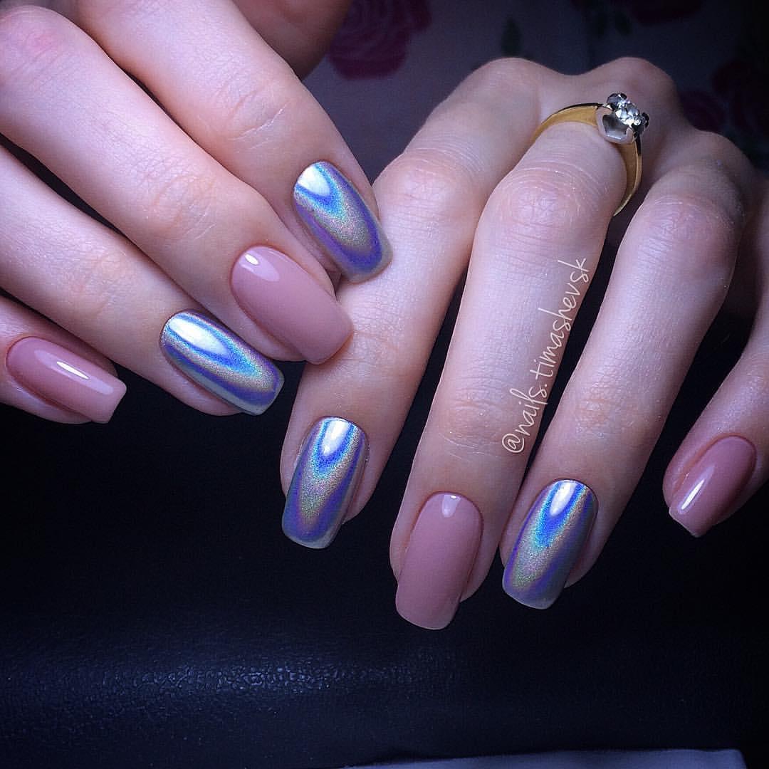 Фото ногтей с гель лаком и втиркой