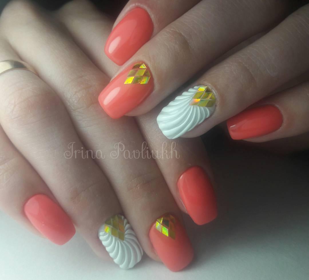 Идеи маникюра с персиковым цветом