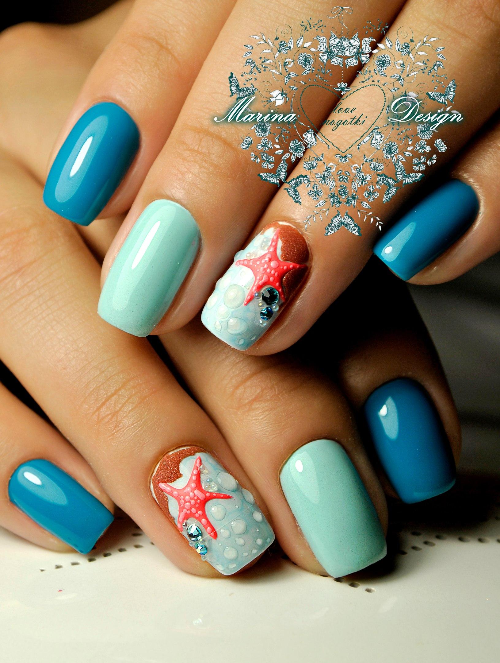 Маникюр голубой фото весна лето