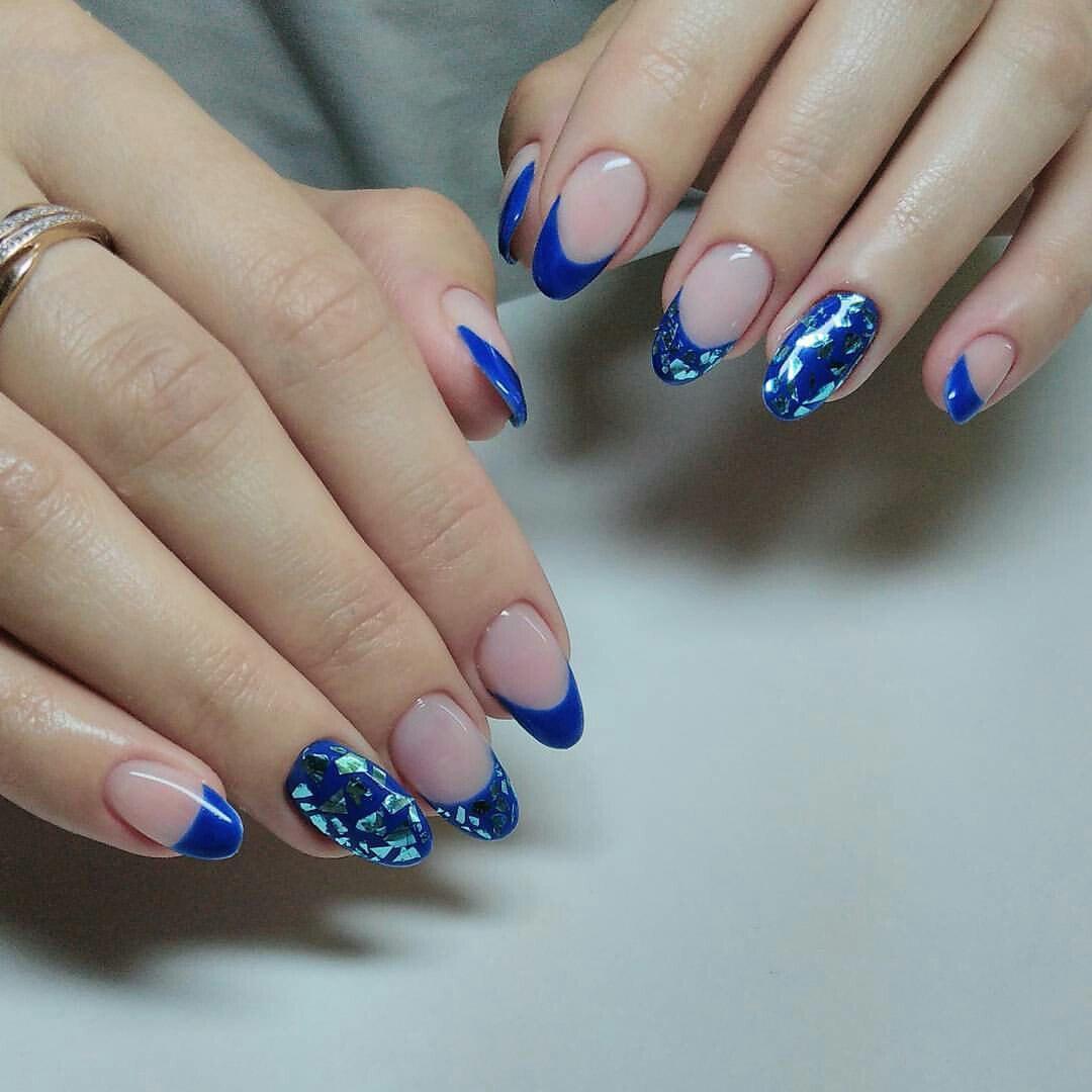Маникюр френч в синем цвете фото дизайн