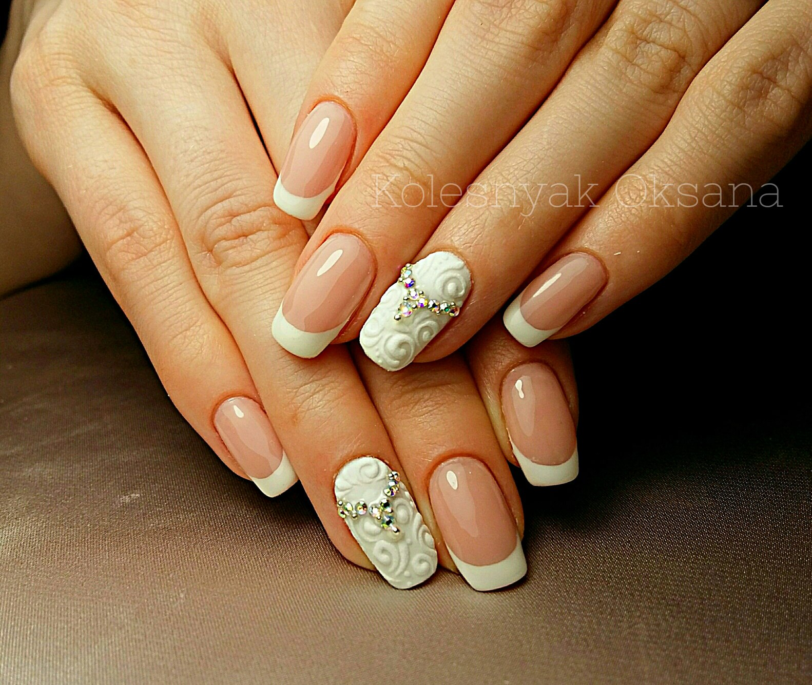 Дизайн френч на квадратных ногтях фото