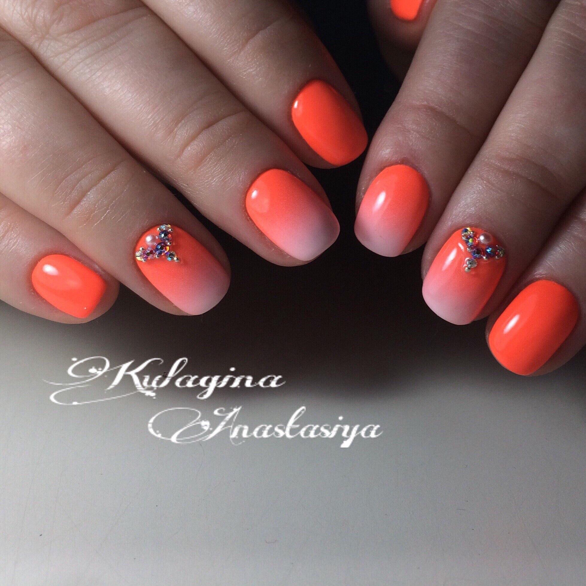 Маникюр градиент оранжевый фото