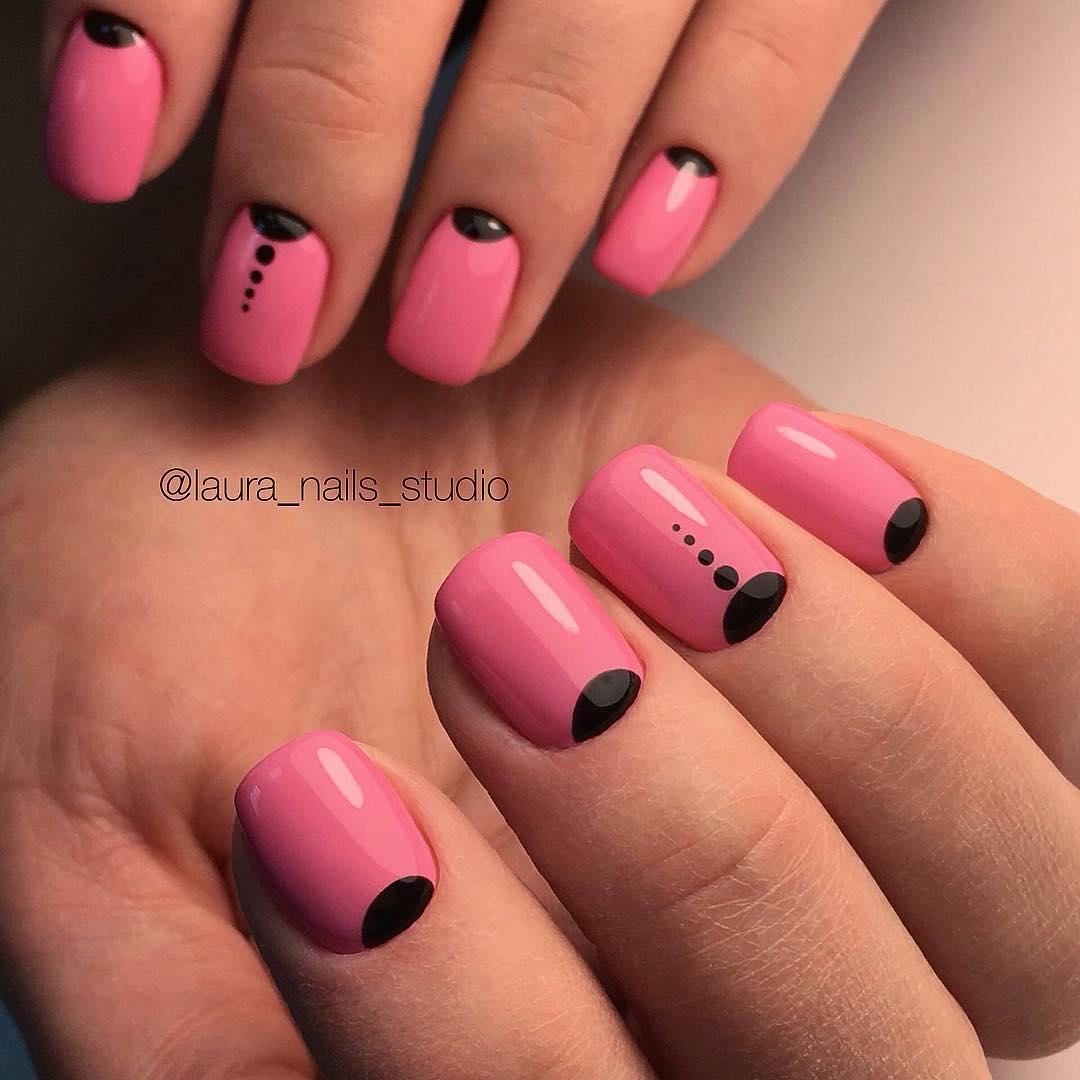 Бело розово черный маникюр фото