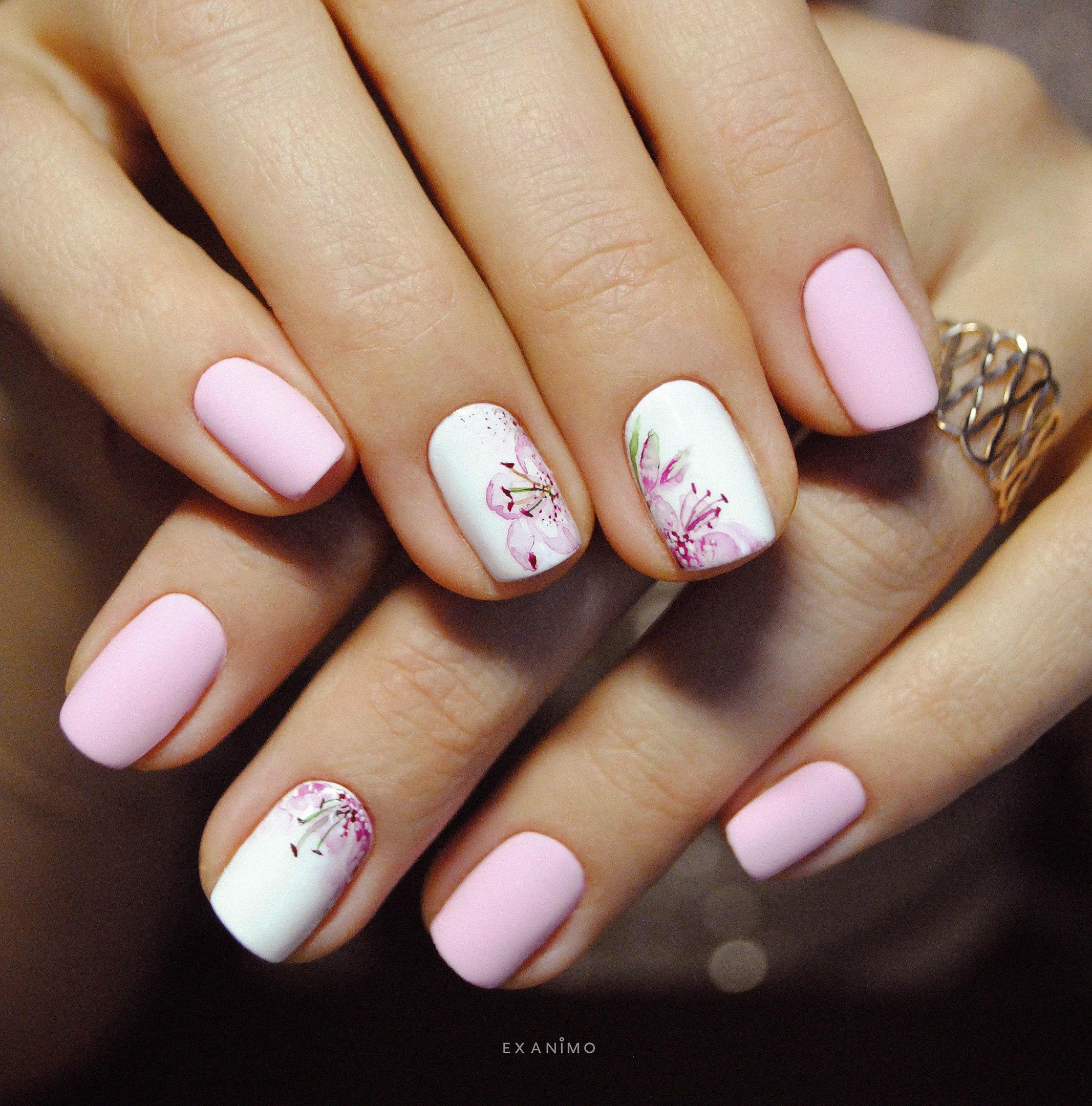 Нарощенные короткие ногти френч дизайн 100