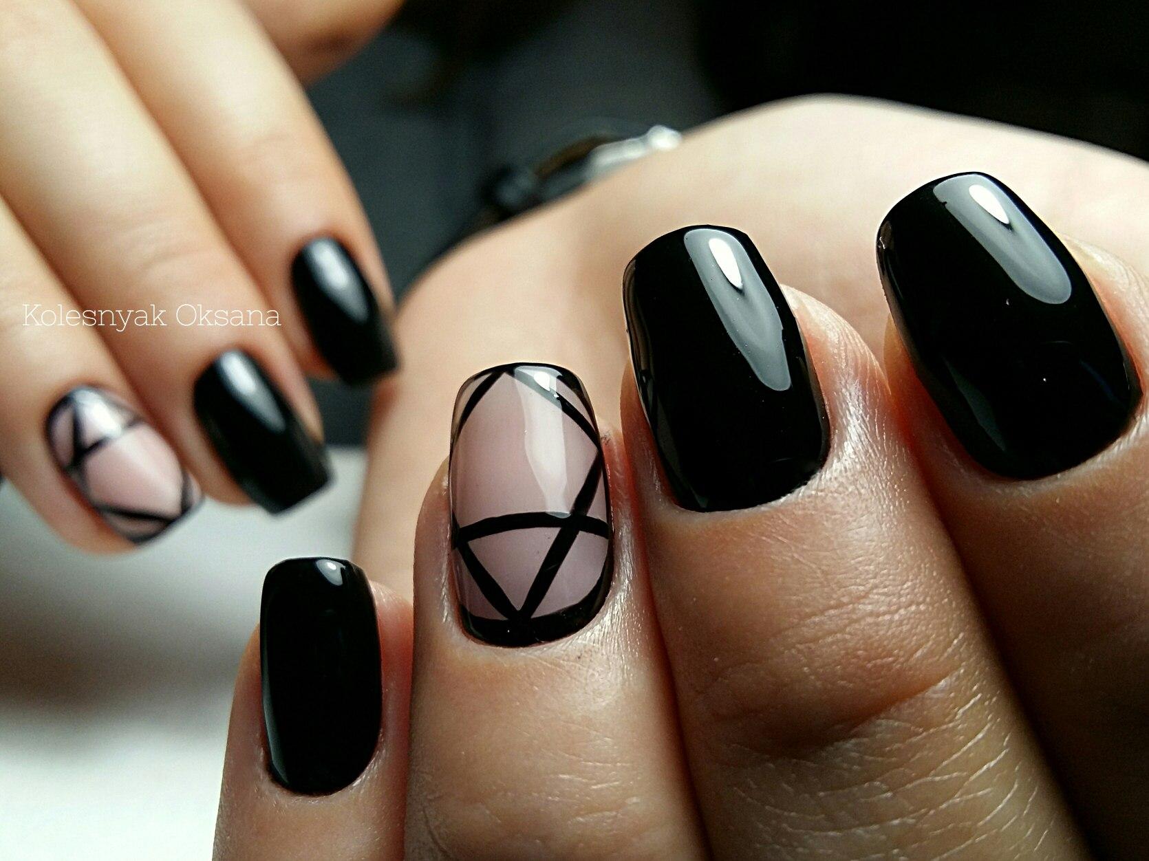 Чёрные ногти гель лак