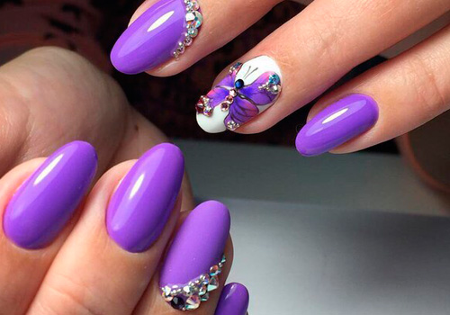 Ногти с фиолетовым дизайном