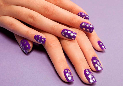 Дизайн ногтей фиолетовый с желтым