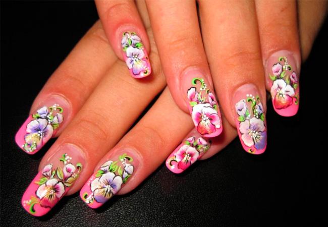 Цветы на ногтях гель лаком