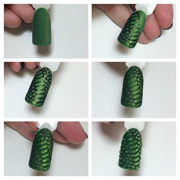 Как сделать дизайн на ногтях объемная рептилия