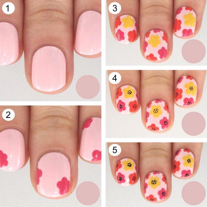 Как рисовать на ногтях цветы