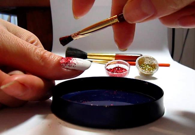 Как сделать маникюр гель лак с блестками