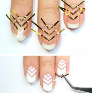 Как наносить ленту на ногти
