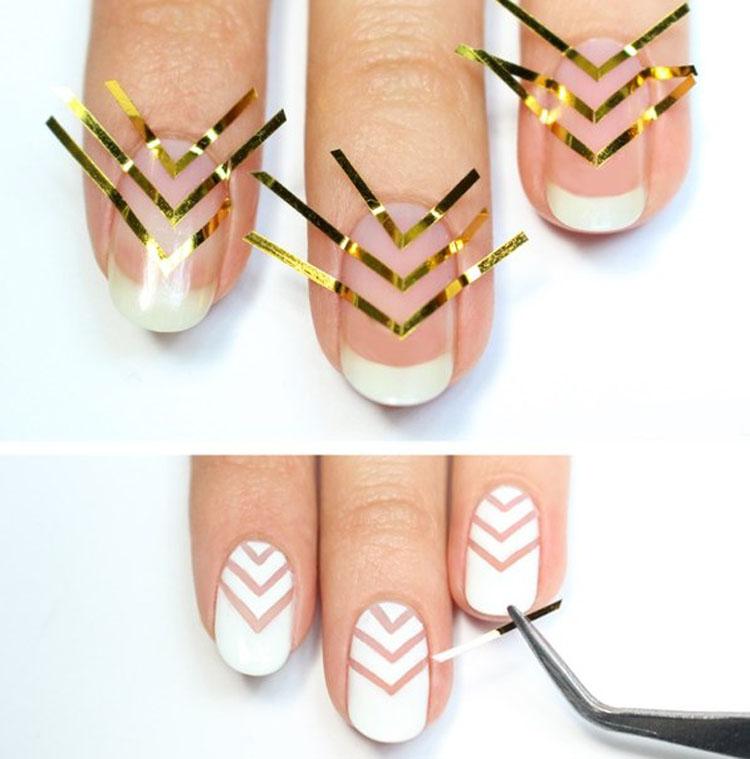 Дизайн ногтей лентами как правильно клеить ленты