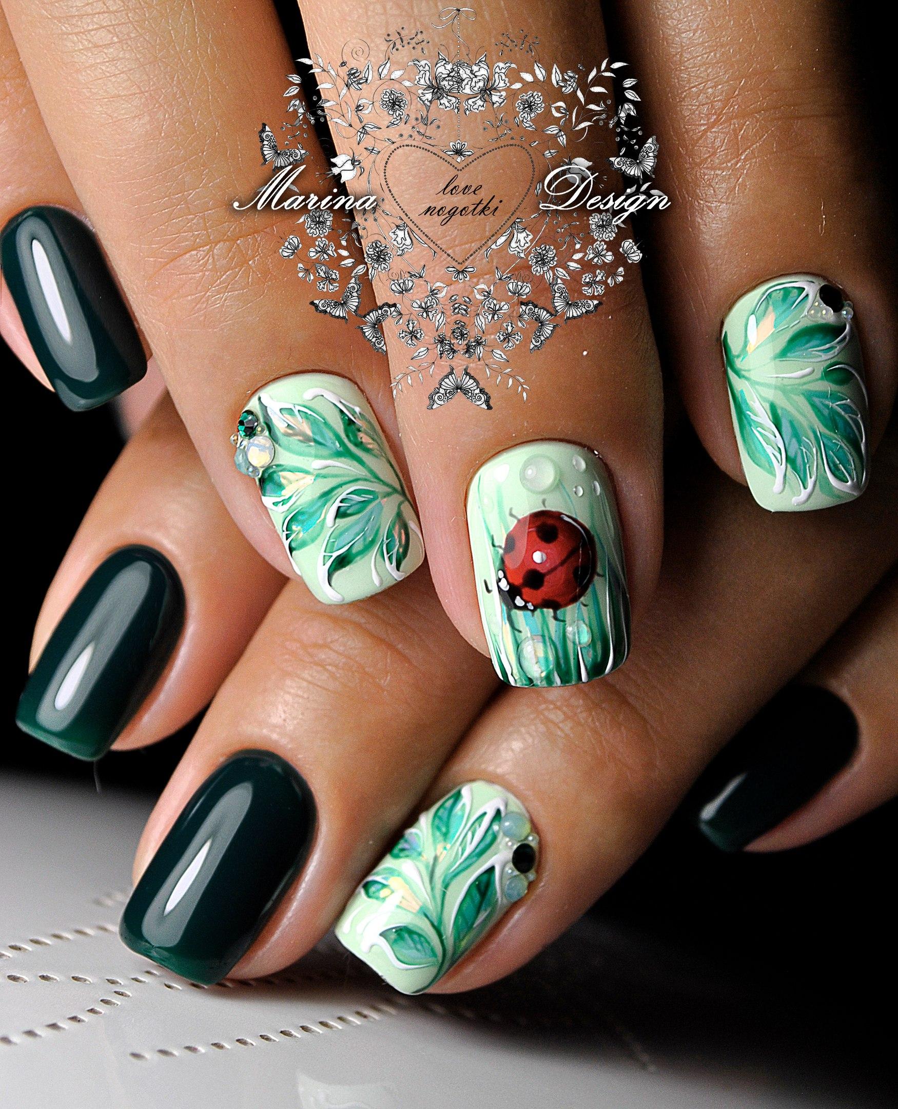 Дизайн ногтей капельками лака фото