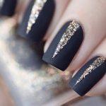 Черный маникюр с золотом: лучшие идеи дизайна 2018 года, черный френч, черный маникюр на квадратные ногти